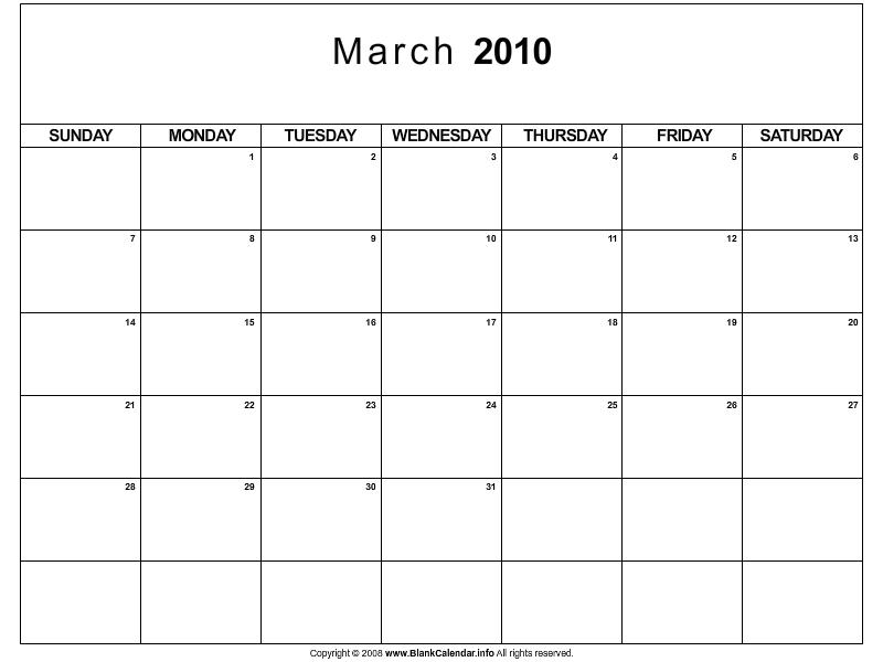 calendar march 2010